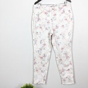 Style & Co White Curvy Skinny Floral Jeans 14 NWT